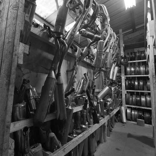 A black and white photo of different bike parts